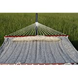 Exclusive Large Heavy Duty Double Quilted Hammock with Pillow - Tan Pattern