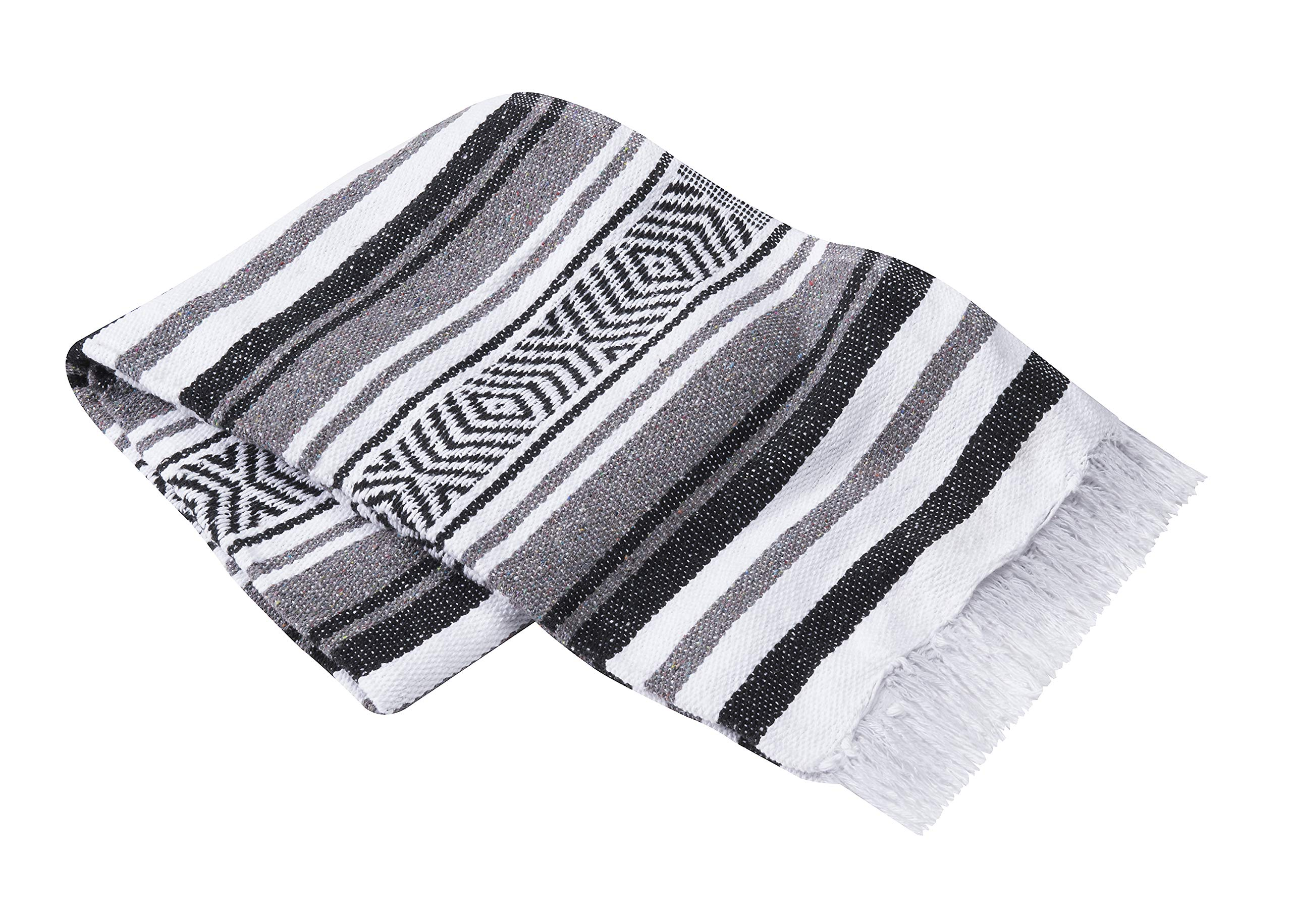 Vera Cruz - Mexican Yoga Blankets - 10-Pack - Wholesale Pricing - Made in Mexico (Gray/White/Black)