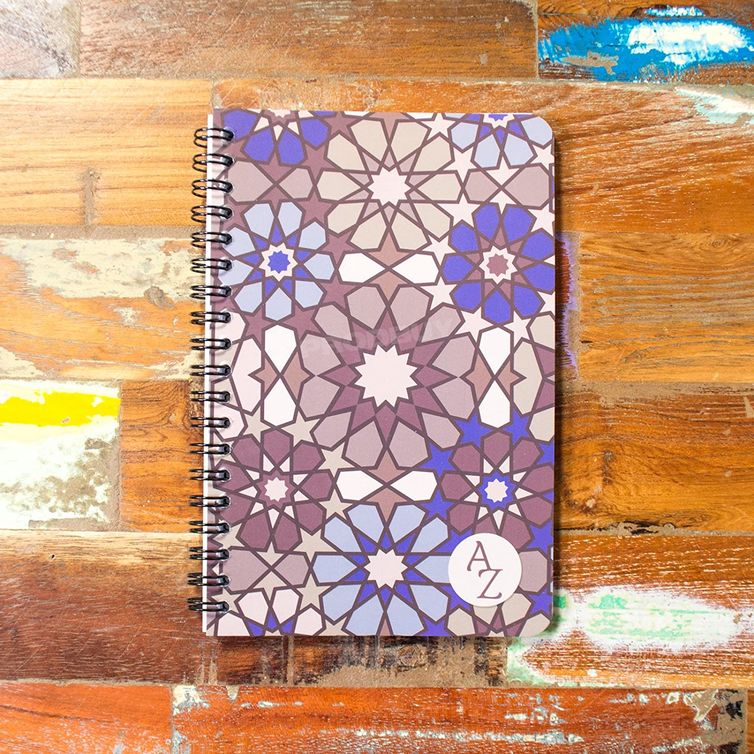 Spiral A6+ 100 Page A-Z Tabbed Index Address Book Moroccan Paper Notebook Pad (Brown Star Centre) Prodbuy Limited