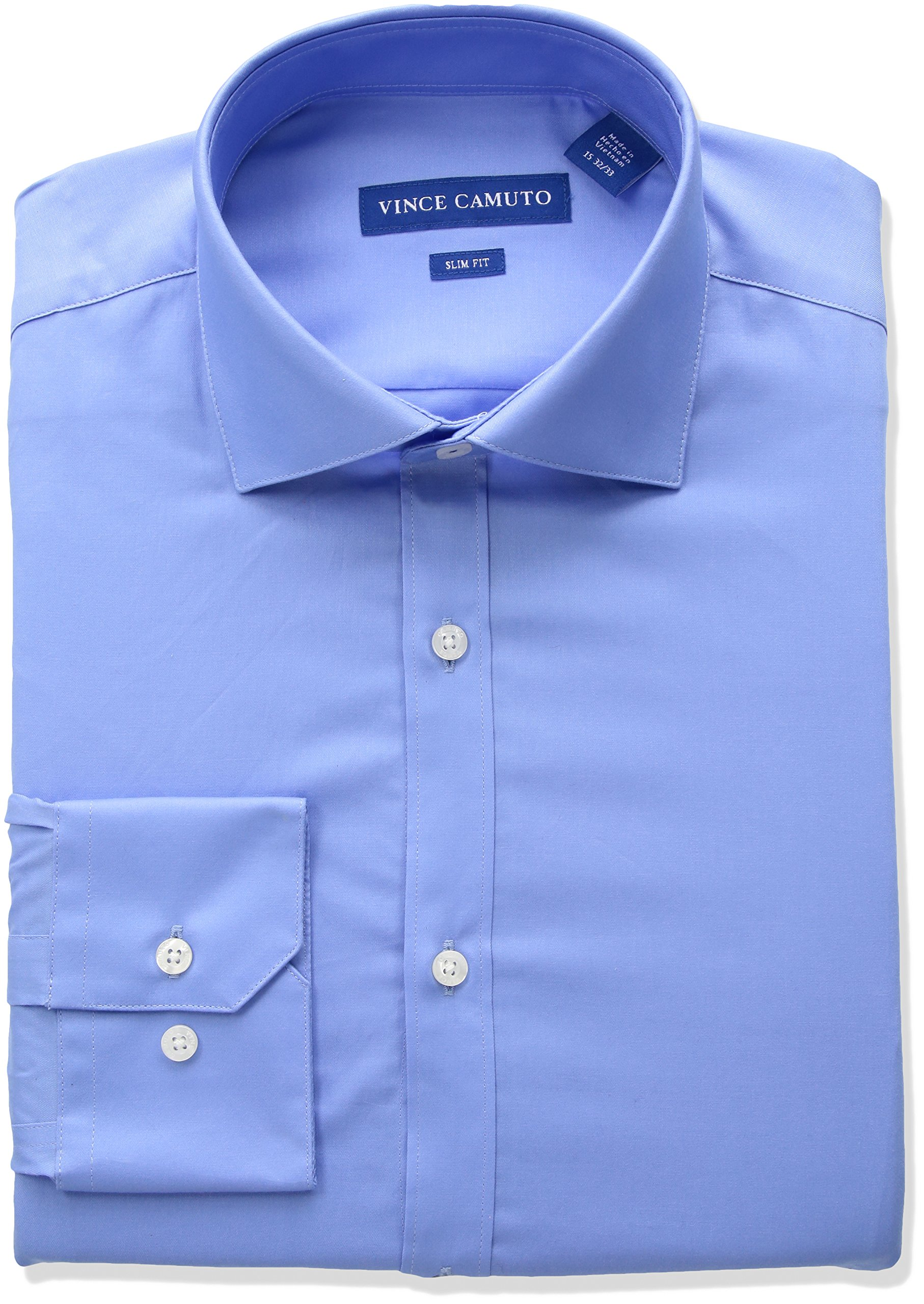 Vince Camuto Men's Slim Fit Stretch Collar Performance Solid Dress Shirt, French Blue, 16.5'' Neck 34''-35'' Sleeve