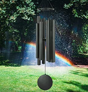 """Black Wind Chimes Outdoors Large Deep Tone,38"""" Memorial Wind Chimes for Outside & 8 Tuned Tubes, Sympathy Wind Chimes Gifts for Mother/Father/Grandpa, Large Wind Chimes Outdoors Décor for Garden Yard"""