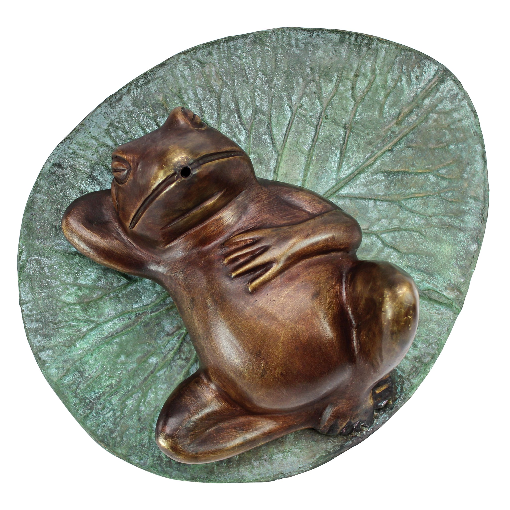 Design Toscano Spitting Frog on Lilly Pad Bronze Garden Statue
