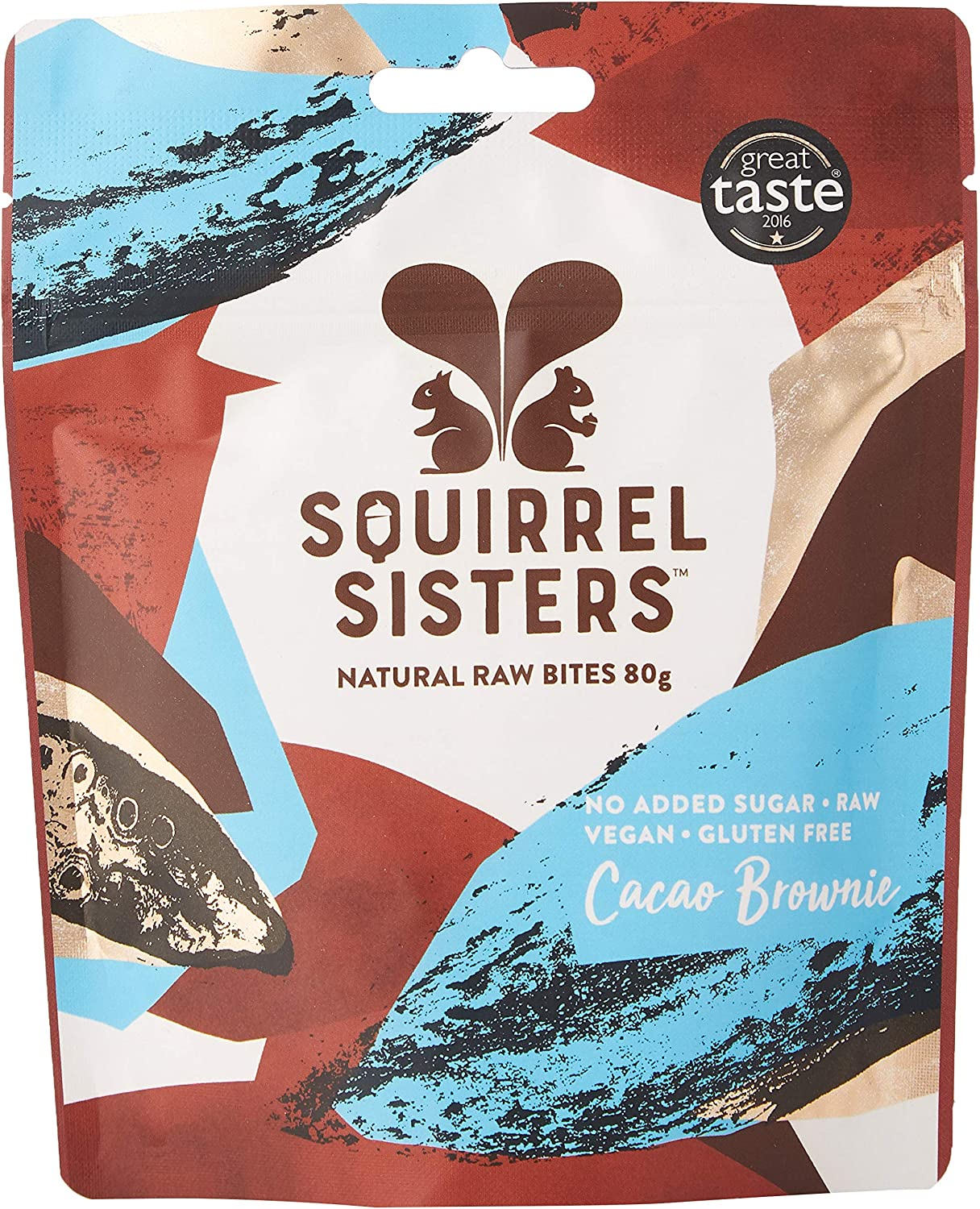 Squirrel Sisters Cacao Brownie Natural Raw Bites Share Bag 80g