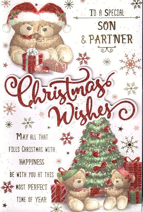 Tarjeta de Navidad para hijo y pareja, diseño de oso y árbol ...
