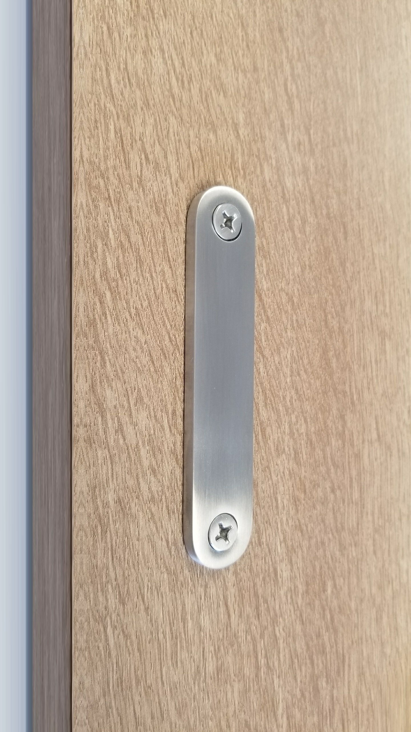 STRONGAR Low Profile Modern Stainless Steel Barn Door Handles for Wood doors (Brushed Satin)