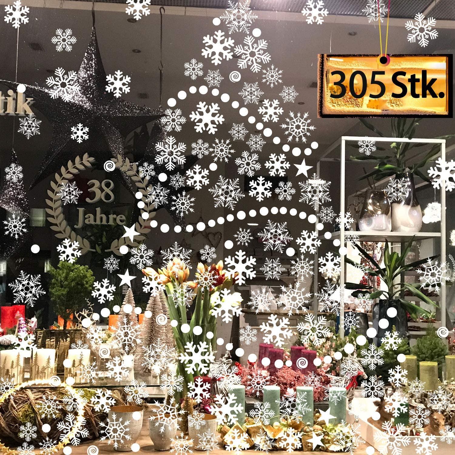305 PCS Christmas Window Clings, Christmas Snowflake Window Sticker Decals, Reusable Electrostatic , for Window Glass Mirror Decorations Ornament Xmas Holiday Party Supplies