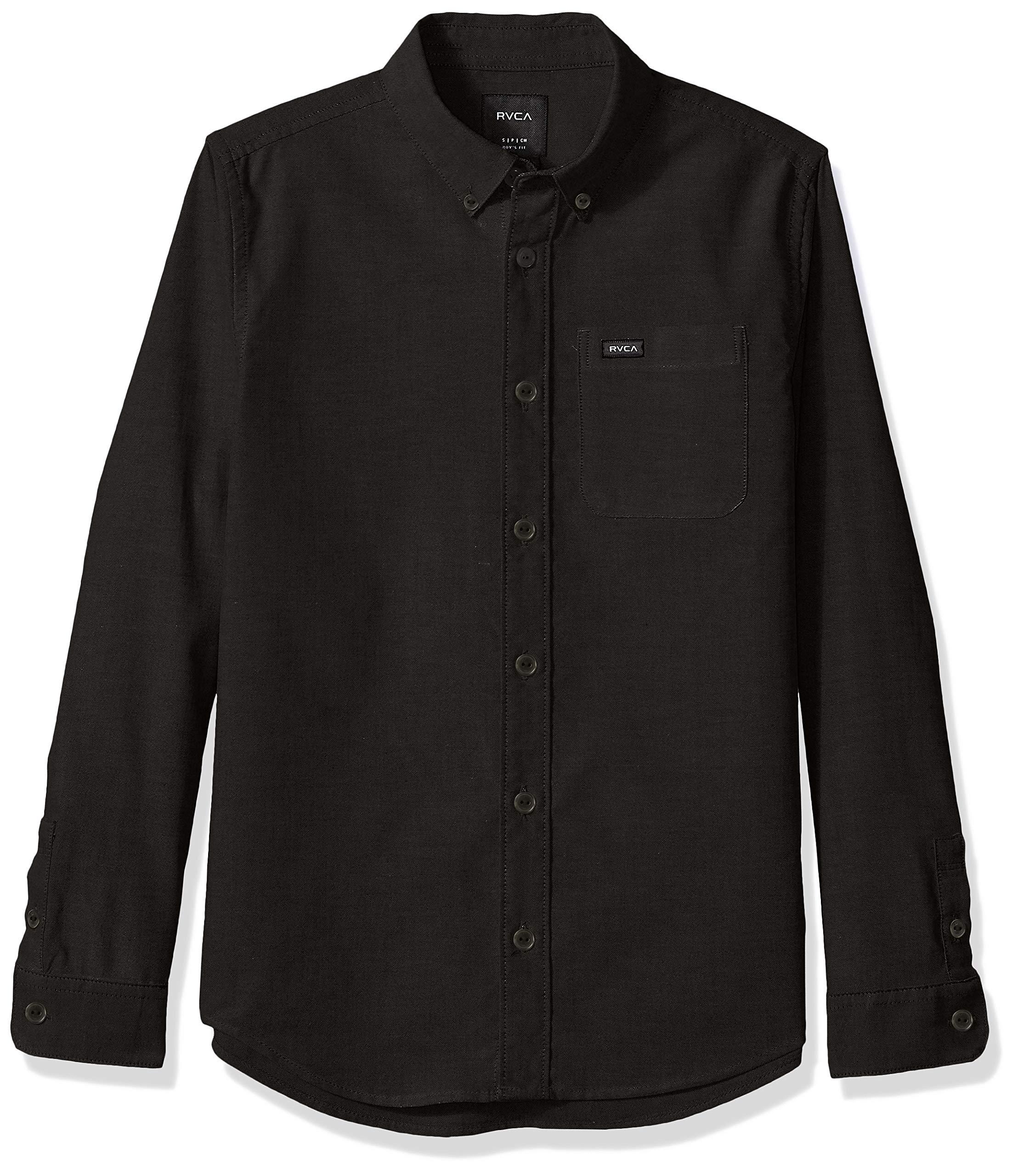 RVCA Boys Thatll DO Stretch Long Sleeve Woven Button UP Shirt, Black, M