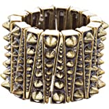 ACCESSORIESFOREVER Women Chic Trendy Wide Spike Design Fashion Stretch Ring R223 Antique Gold