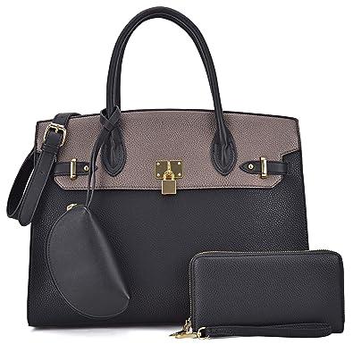 53bed3d7e078 Amazon.com: Dasein Women Vegan Leather Handbag Designer Purse Satchel Bag  with Crossbody Strap (01 Colorblock 3pcs- Black/Bronze-1): Shoes