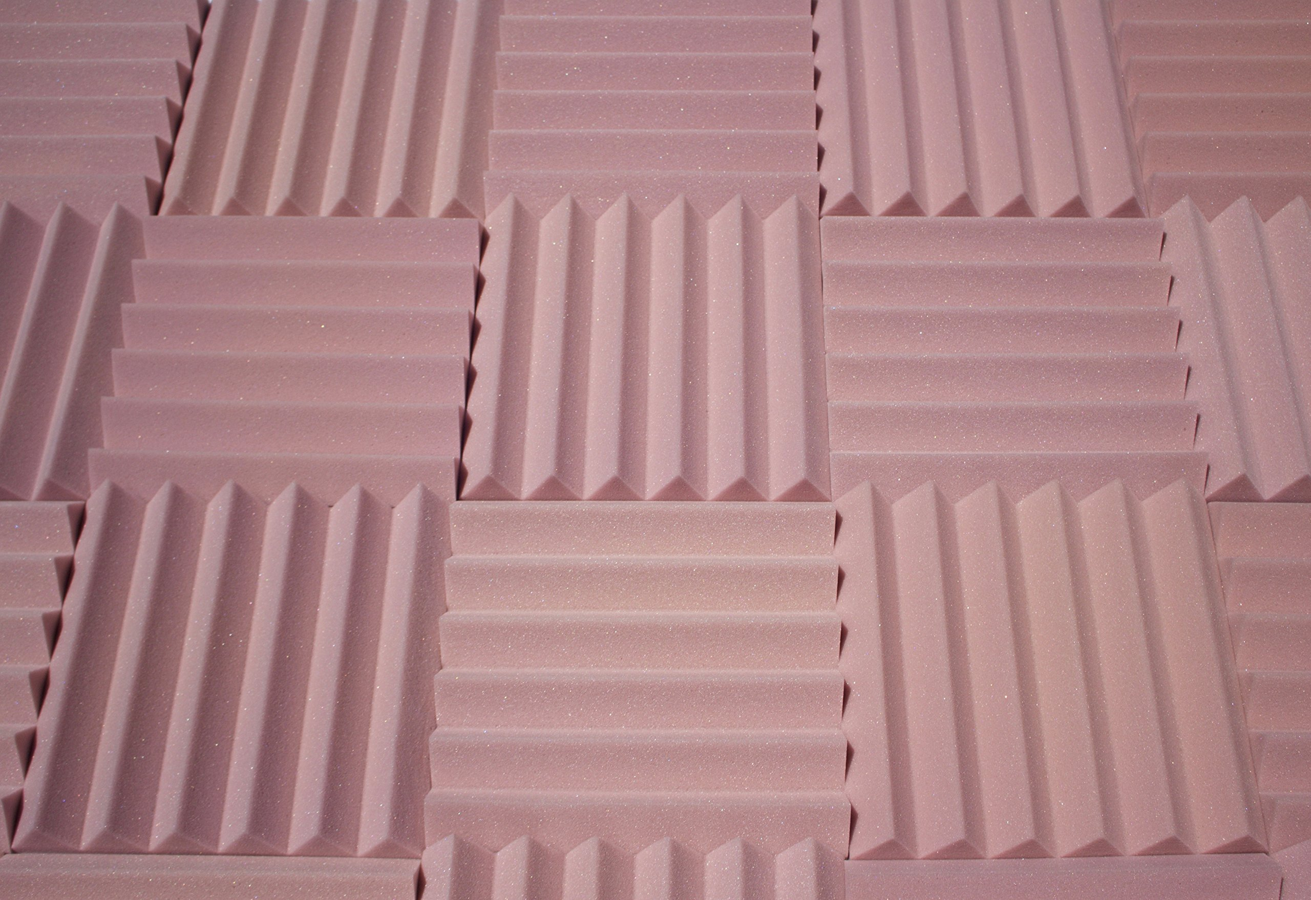 """Soundproofing Acoustic Studio Foam - Rosy Beige Color - Wedge Style Panels 12""""x12""""x2"""" Tiles - 4 Pack"""