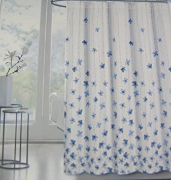 Tahari Home Floral Fabric Shower Curtain Watercolor Vines Blue 72quot