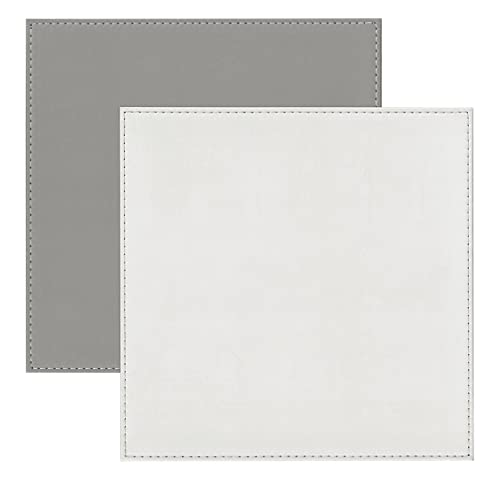 iSTYLE I Style Reversible Faux Leather Placemats with Border Stitch, Plastic, White/Grey, Set of 4