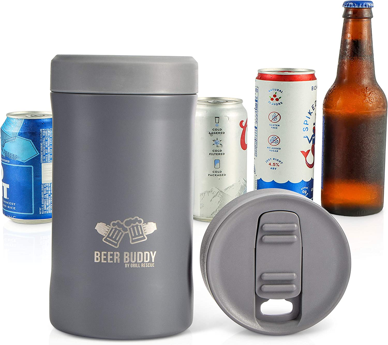 Beer Buddy Insulated Can Holder – Vacuum-Sealed Stainless Steel – Beer Bottle Insulator for Cold Beverages – Thermos Beer Cooler Suited for Any Size Drink - One Size Fits All (Matte Gray)