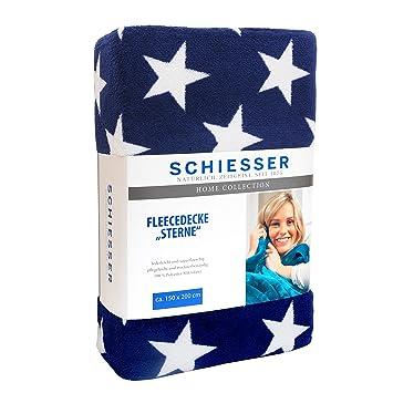Schiesser Fleecedecke Sterne 150 X 200 Cm Blau Wohndecke In Versch Farben