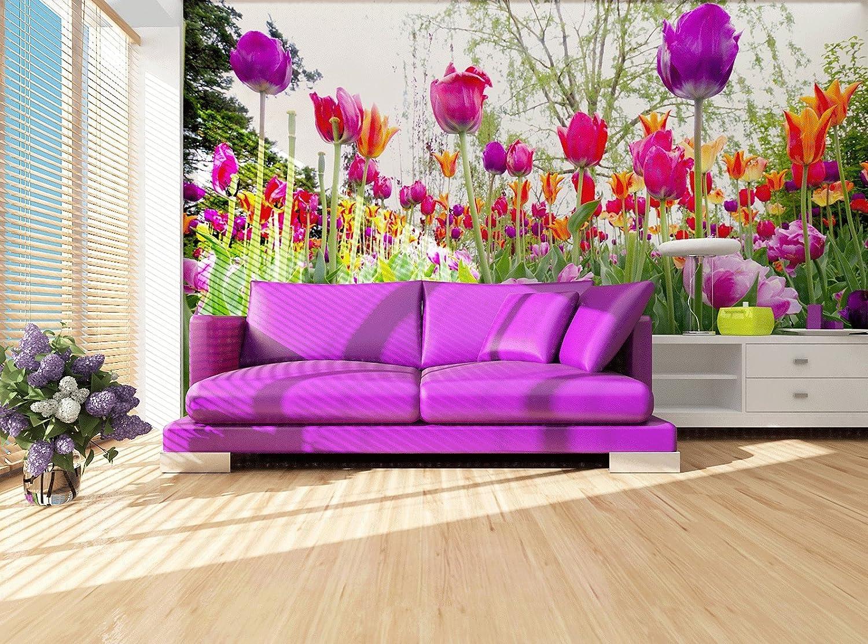 Fototapete Bunte Tulpen im Garten - Größe 360 x 270 cm, vierteilig