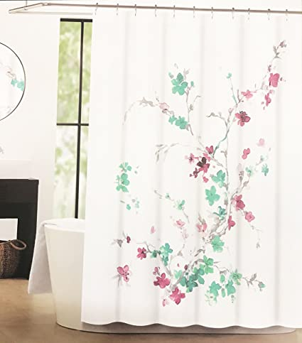 Tahari Luxury Cotton Blend Shower Curtain Printemps Green Pink Floral Grey Branches