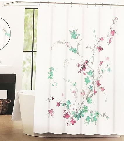 Amazon Tahari Luxury Cotton Blend Shower Curtain Printemps