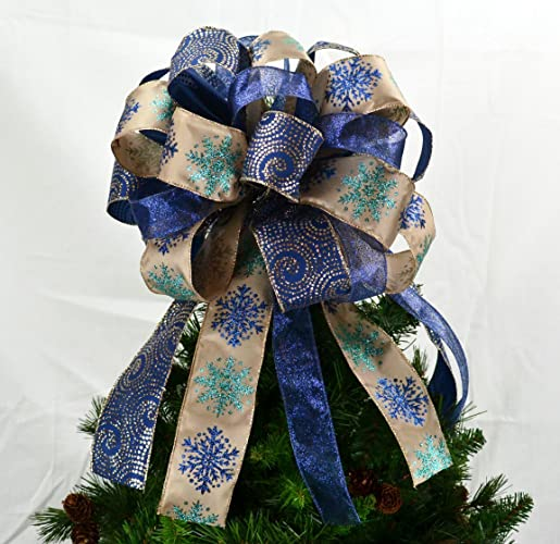 christmas tree topper bow present bow tree bow navy blue gold