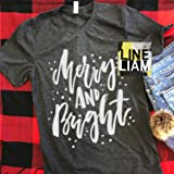 merry and bright, womens christmas shirt, christmas shirt, santa shirt, christmas raglan