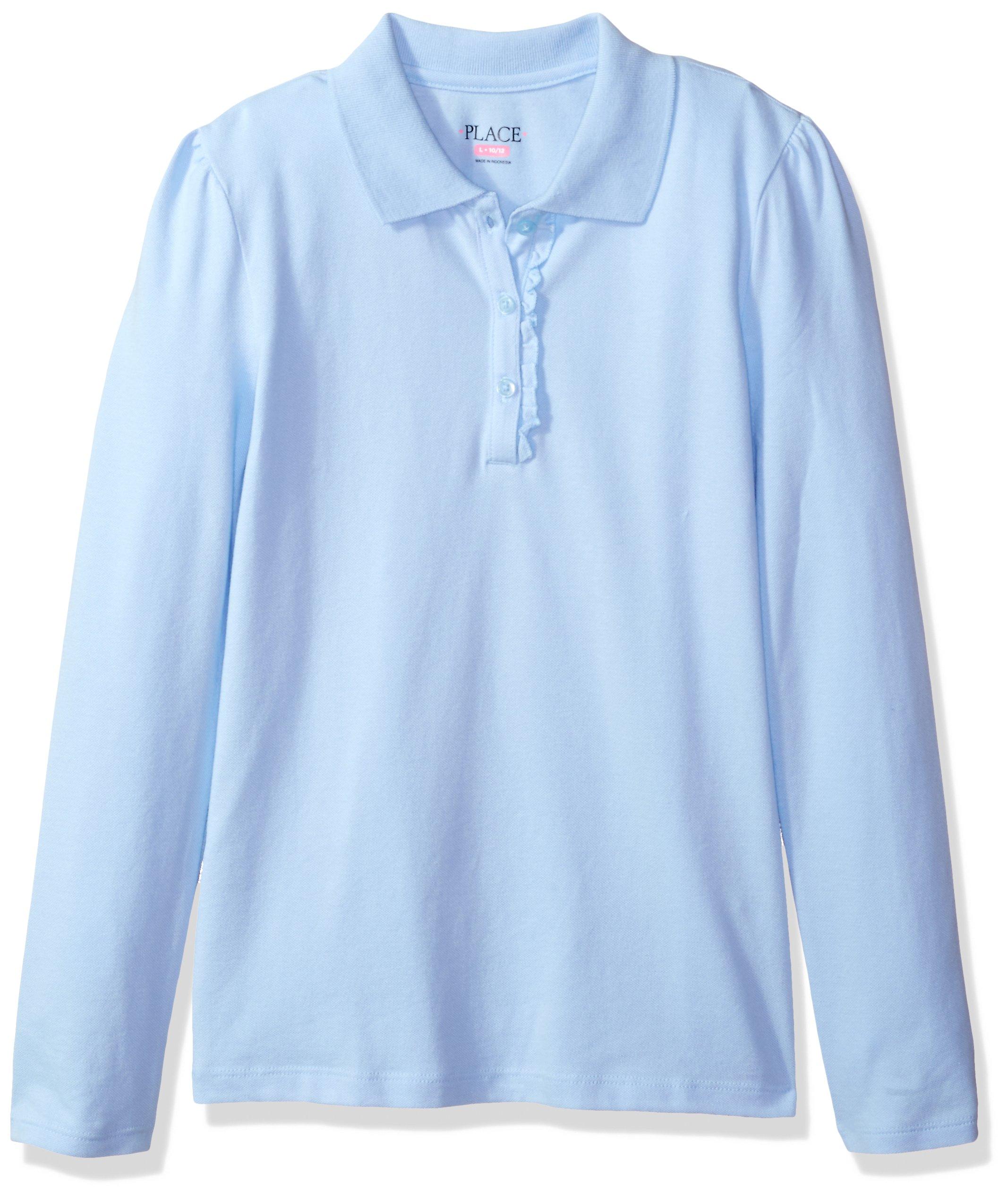 The Children's Place Big Girls' Uniform Long Sleeve Polo, Day Break-Ruffle 44389, Medium/7/8