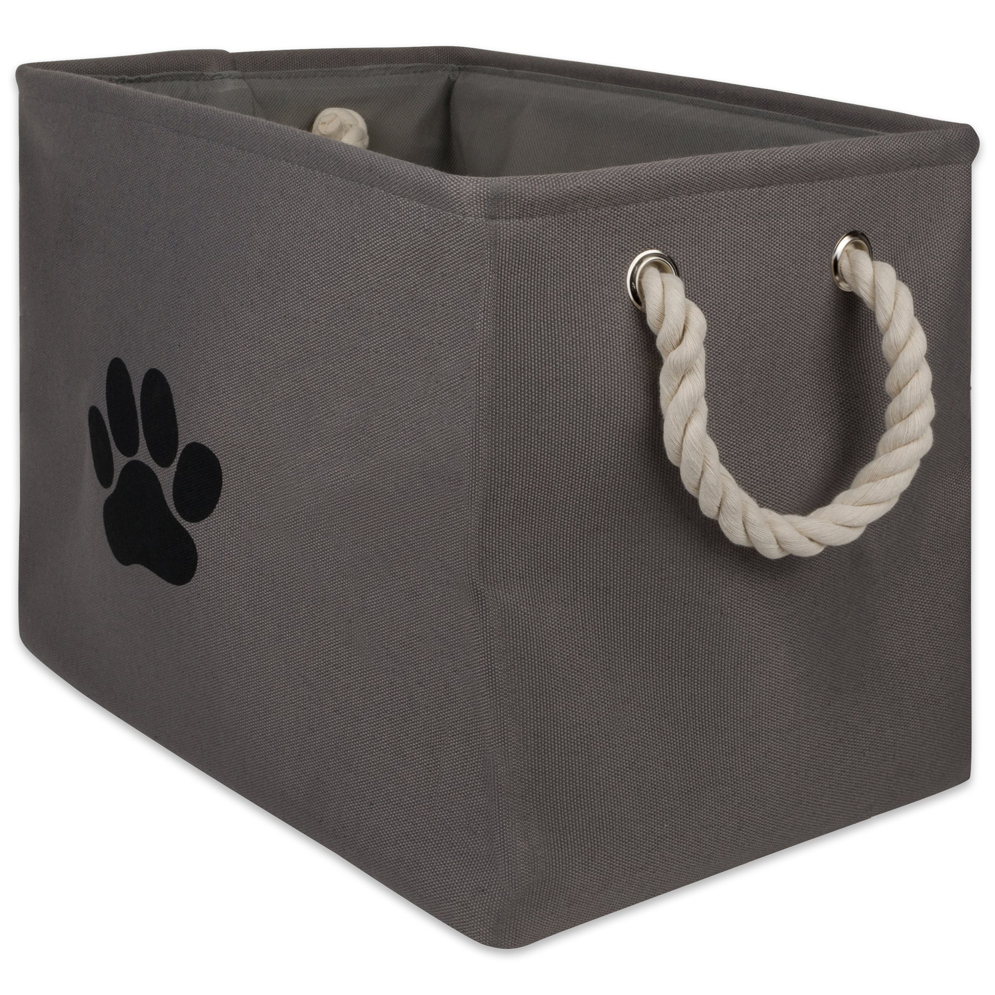 Bone Dry DII Medium Rectangle Pet Toy and Accessory Storage Bin, 16x10x12, Collapsible Organizer Storage Basket for Home Décor, Pet Toy, Blankets, Leashes and Food-Gray Paw Print