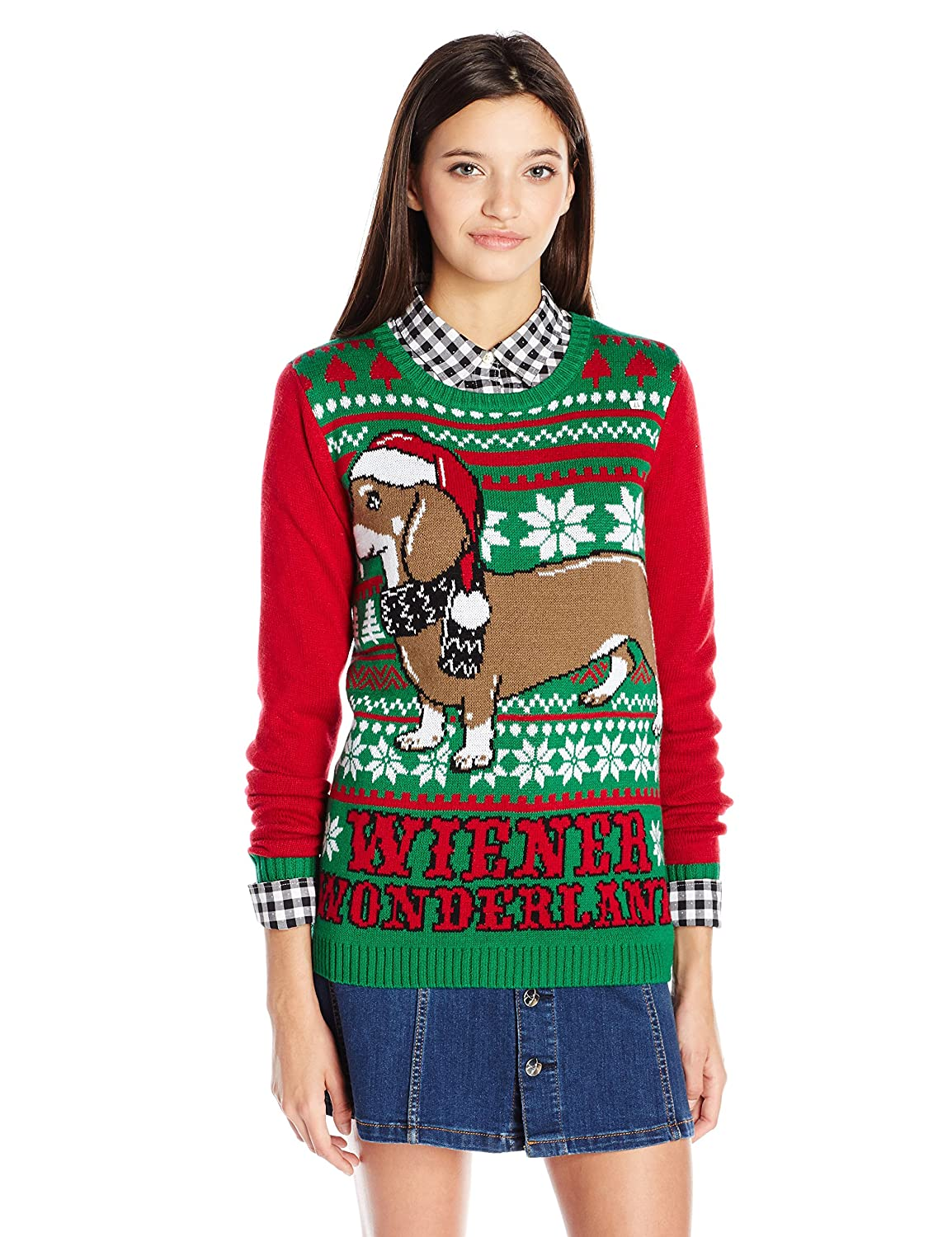 Ugly Christmas Sweater Juniors Wiener Wonderland Pullover at Amazon ...