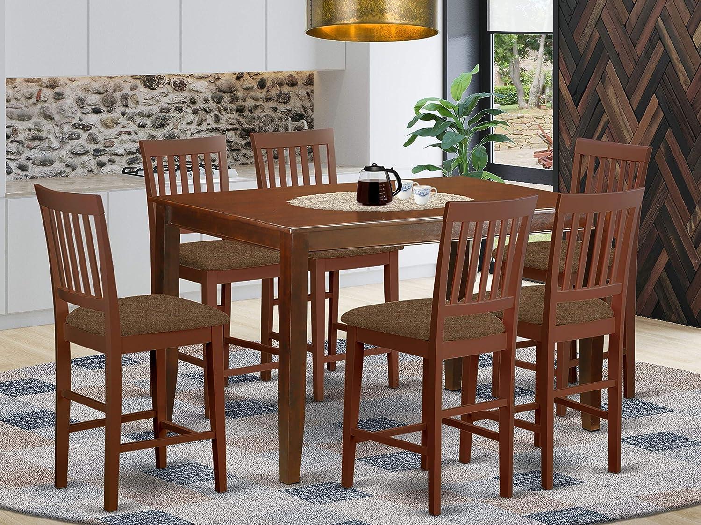 East West Furniture DUVN7H-MAH-C, Microfiber Upholstered Seat