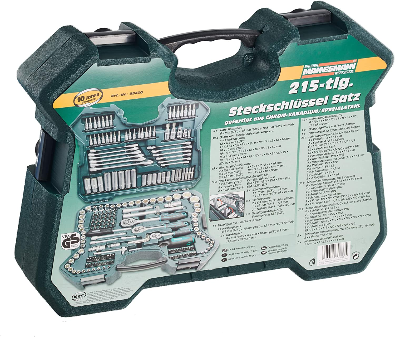 Mannesmann M98430 - Maletín con llaves de vaso y otras herramientas (215 piezas, tamaño: 12x36x51 cm): Amazon.es: Bricolaje y herramientas