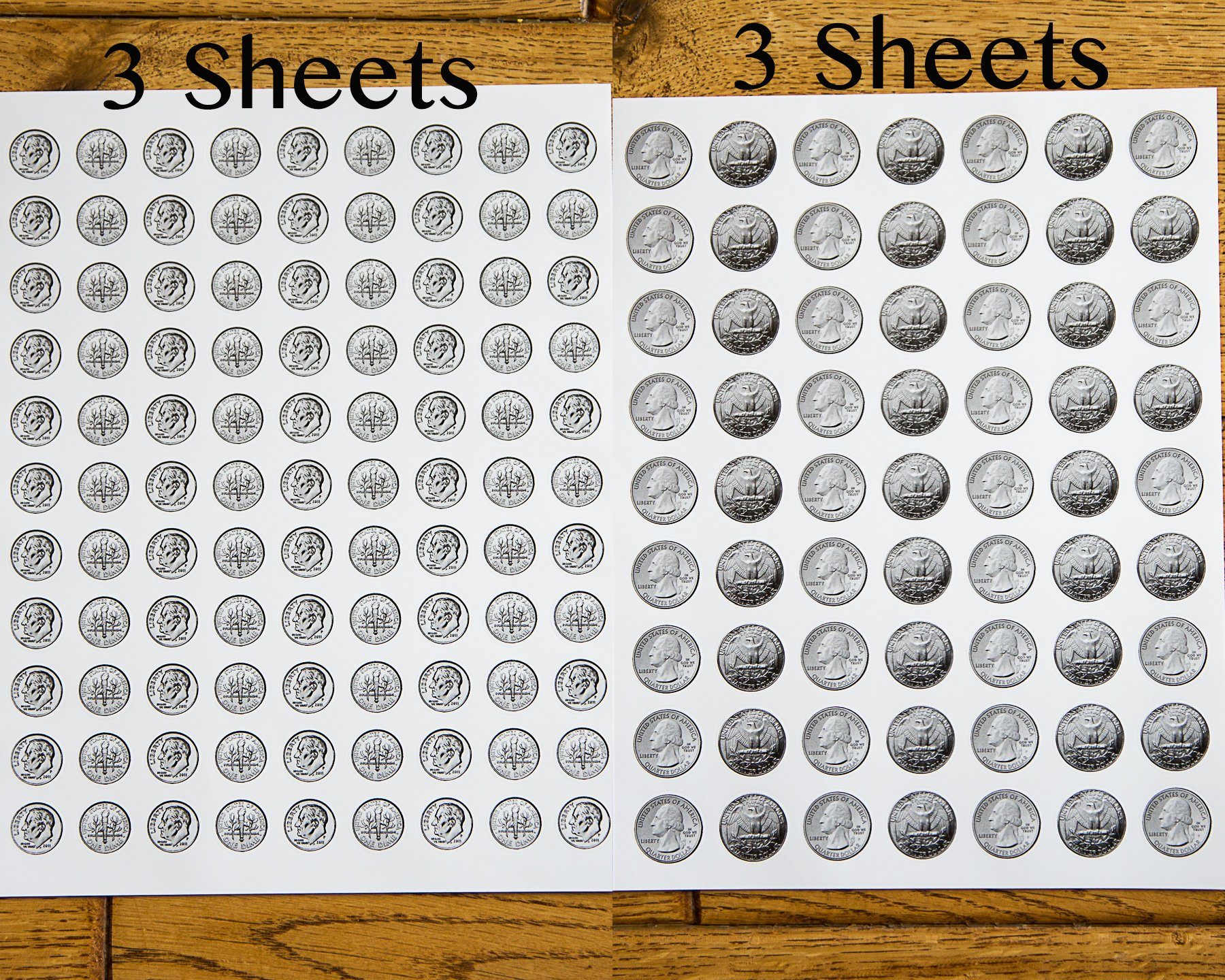 1038 Pieces U.S. Coin & Currency Stickers | For Classroom & Home Use | Extra Strong Adhesive | Realistic Size | 14 Total Sheets | By PureBloom Products by PureBloom Products (Image #8)