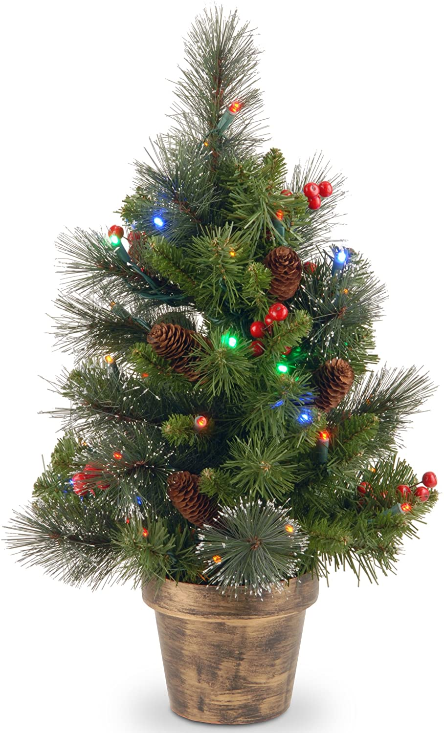 Tree Company Pre-Lit Artificial Christmas Tree | Trimmed with Mixed Decorations and Multicolor LED Lights | Crestwood Spruce - 2 ft