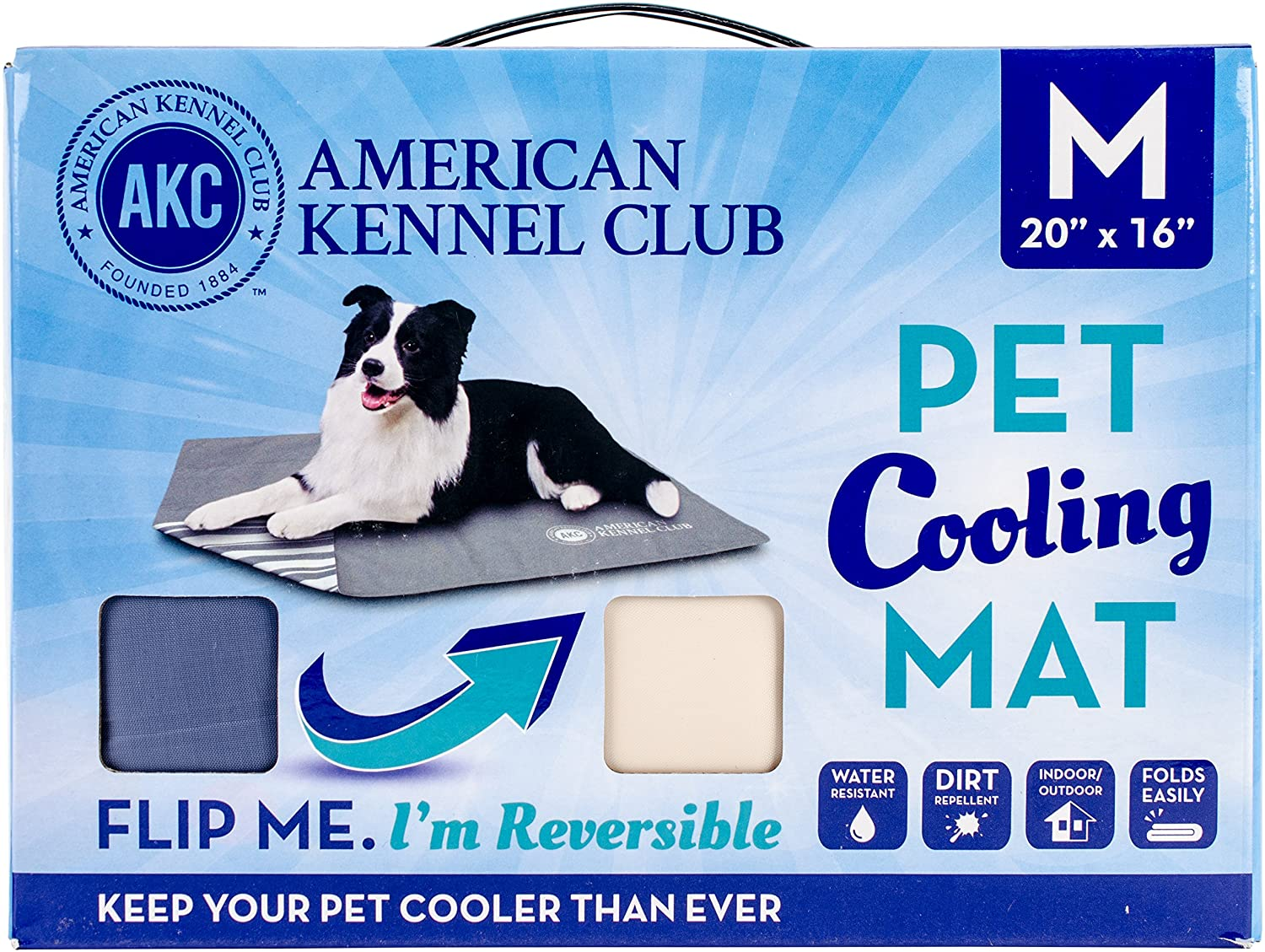 American Kennel Club Solid Reversible Cooling Mat 20 X16 -bluee