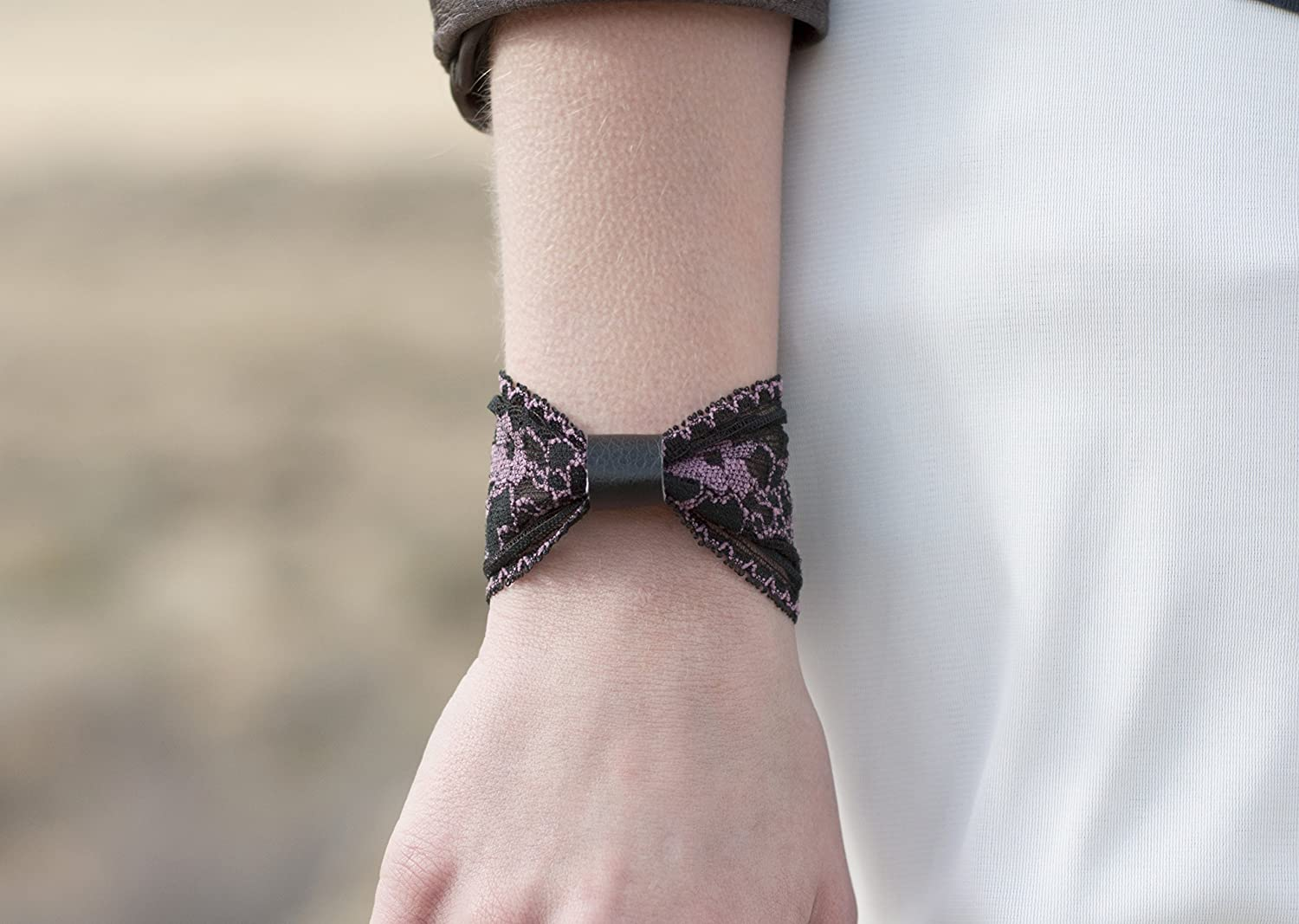 Lace Bow Tie Wrist Cuff Bracelet (Black and Pink) Stretch for Women
