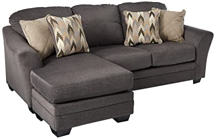 Benchcraft   Braxlin Contemporary Sofa Chaise   Four Throw Pillows Included    Charcoal