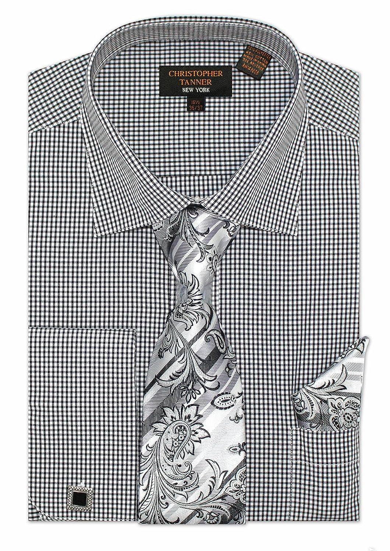 Christopher Tanner Mens Regular Fit Checks Pattern Dress Shirts