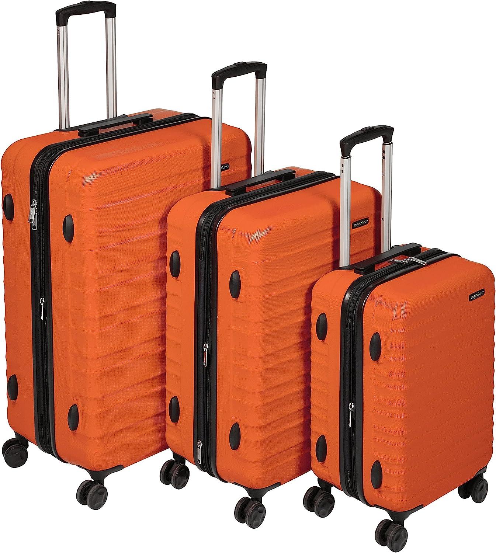 AmazonBasics - Maleta de viaje rígidaa giratoria - Juego de 3 piezas ( 55 cm, 68 cm, 78 cm), Naranja fuerte