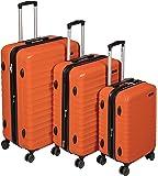 AmazonBasics - Maleta rígida giratoria - Juego de 3 piezas ( 55 cm, 68 cm, 78 cm), Naranja fuerte