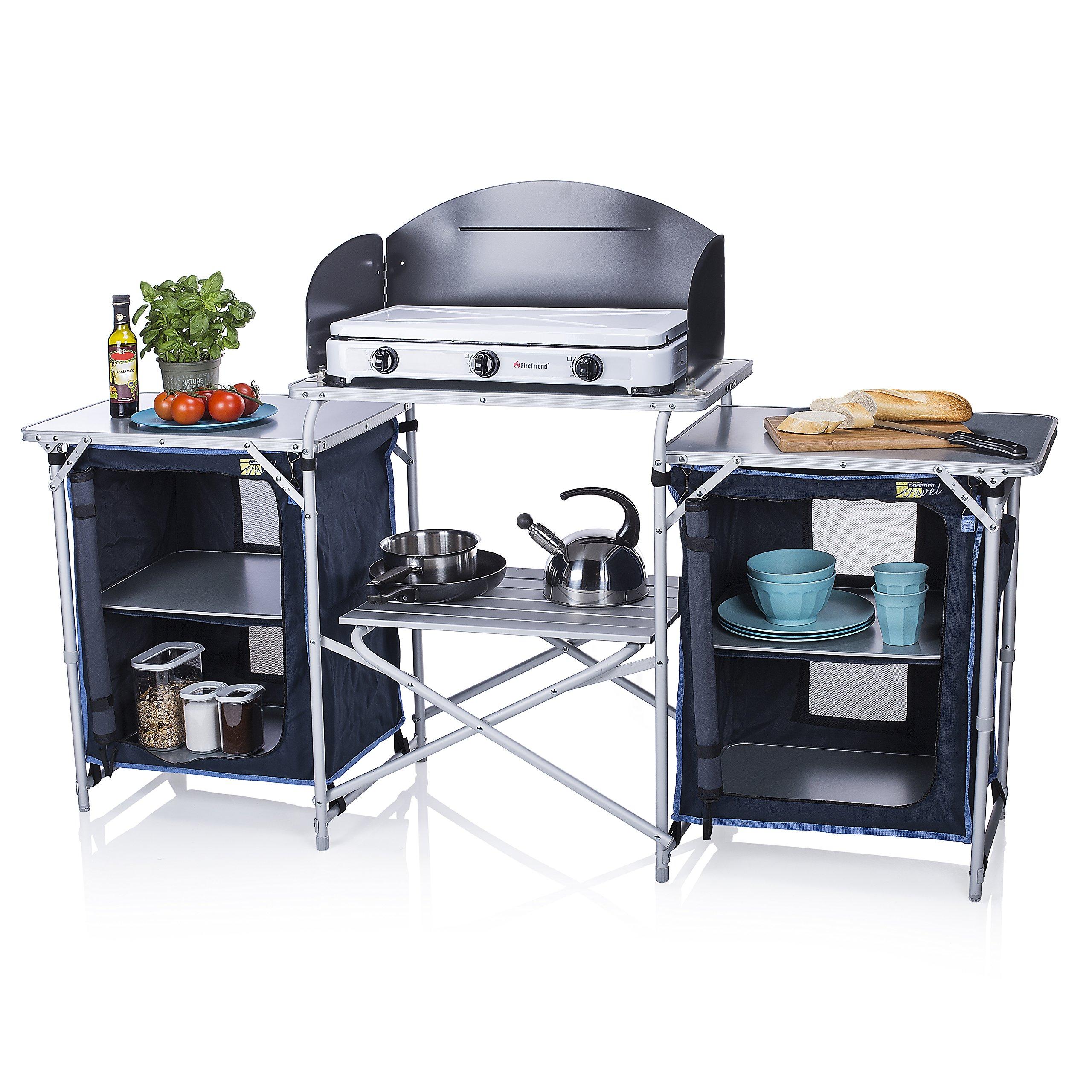 Cocina de camping Málaga Campart Travel KI-0732 – Con paravientos – Dos compartimentos de