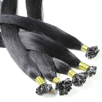 Hair2Heart 50 x 0,5g Extensiones de Queratina - 30cm - Liso, Color 1