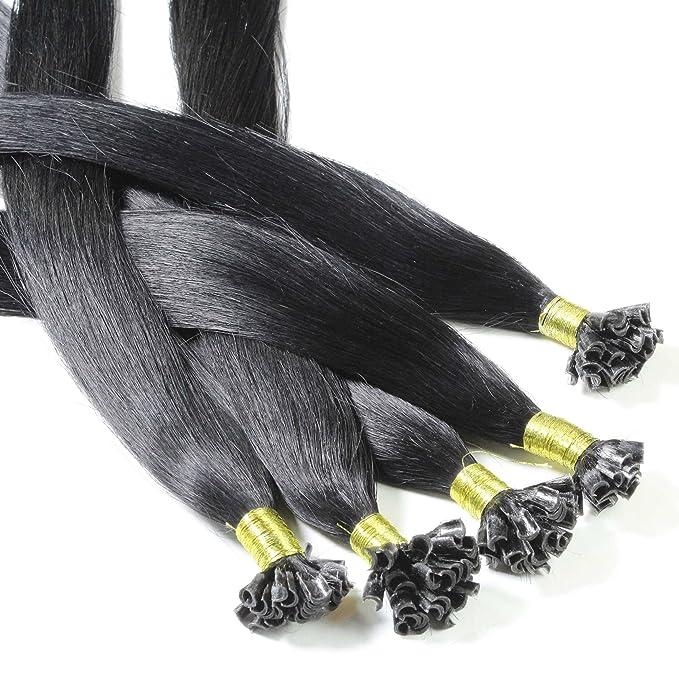 Hair2Heart 50 x 0,5g Extensiones de Queratina - 30cm - Liso, Color 1 Negro: Amazon.es: Belleza