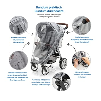 Zamboo - Protector de lluvia Universal para Silla de paseo - Burbuja de lluvia con ventana de contacto, buena circulación del aire, fácil montaje, sin ...