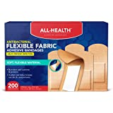 All Health Antibacterial Fabric Adhesive Bandages, 1 in x 3 in, 200 ct   Helps Prevent Infection, Flexible Protection for Fir