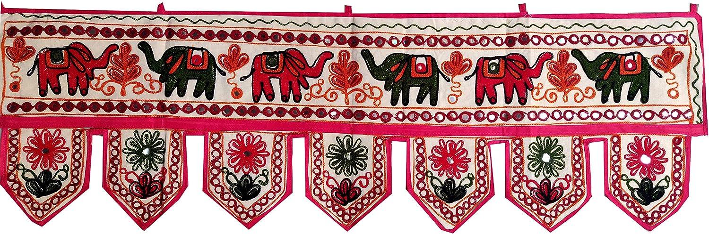 Indian Handmade Traditional Embroidered Toran Cotton Thoranam Door Living Room Decor Bandanwar Home Valance Decorations Window Hanging Hippie Bohemian Wall Ethnic Decorative Vintage (Elephant)