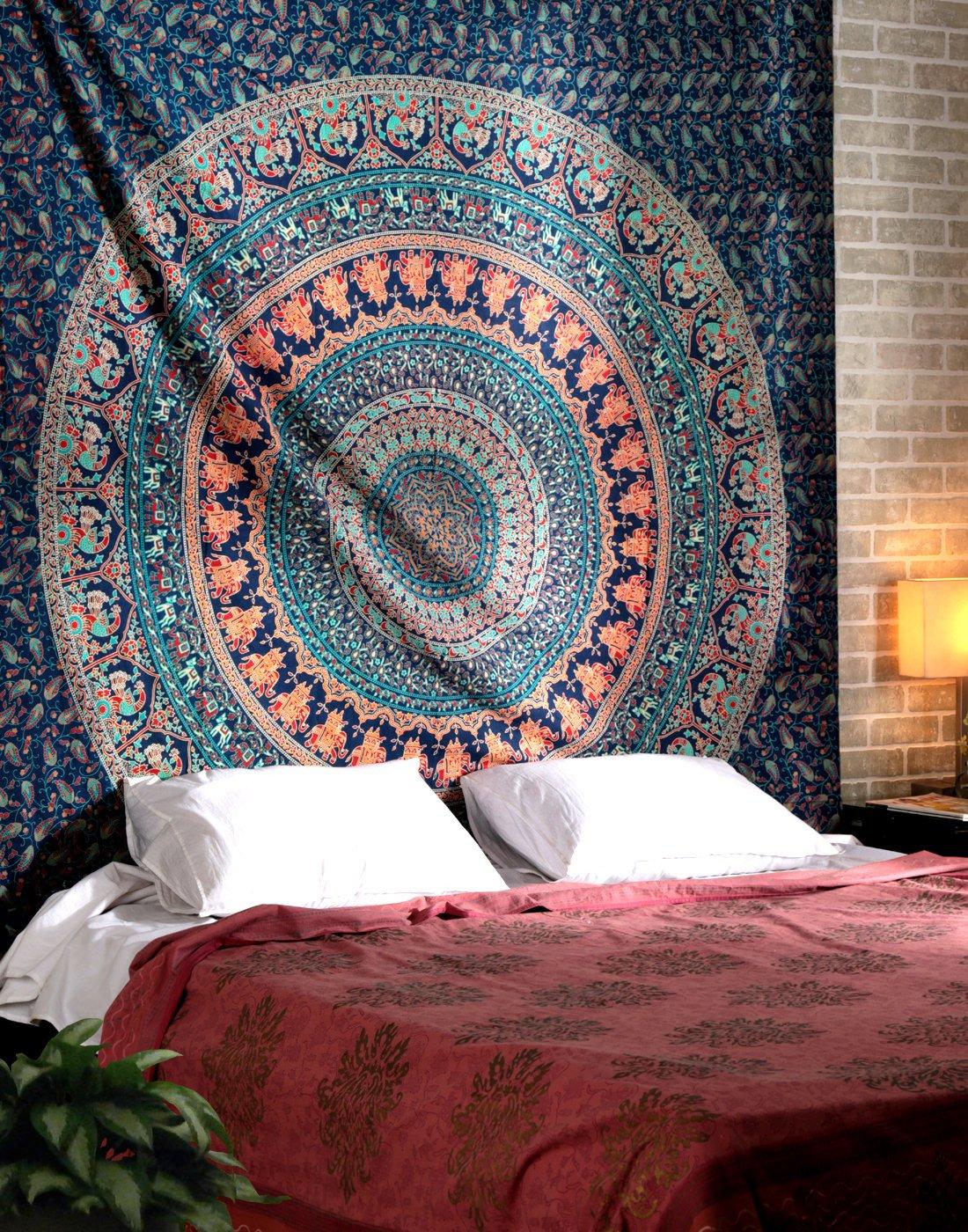 RAJRANG Boho College Dorm Decor Beach Throw Tapestries - Indian Cotton Decorative Wall Hanging Tapestry Bohemian Elephant Tapestries 90 x 84