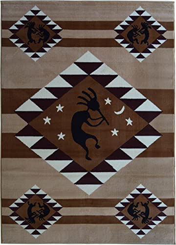 Rugs 4 Less Collection Southwest Native American Indian Dancing Kokopelli Area Rug in Beige Berber 5 x7