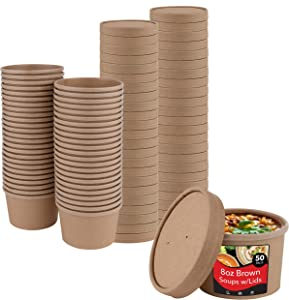 Stock Your Home (50 Count) 8 oz Kraft Brown Disposable Soup Cups with Lids have Multipurpose Use as Ice Cream Cups with Lids - Soup Containers To Go for Restaurants, Delis, and Cafes