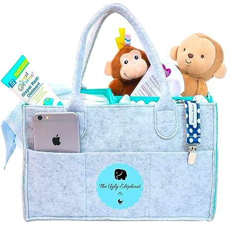 Organizador de pañales para bebé con cada compra de elefantes y cesta de regalo para baby shower.