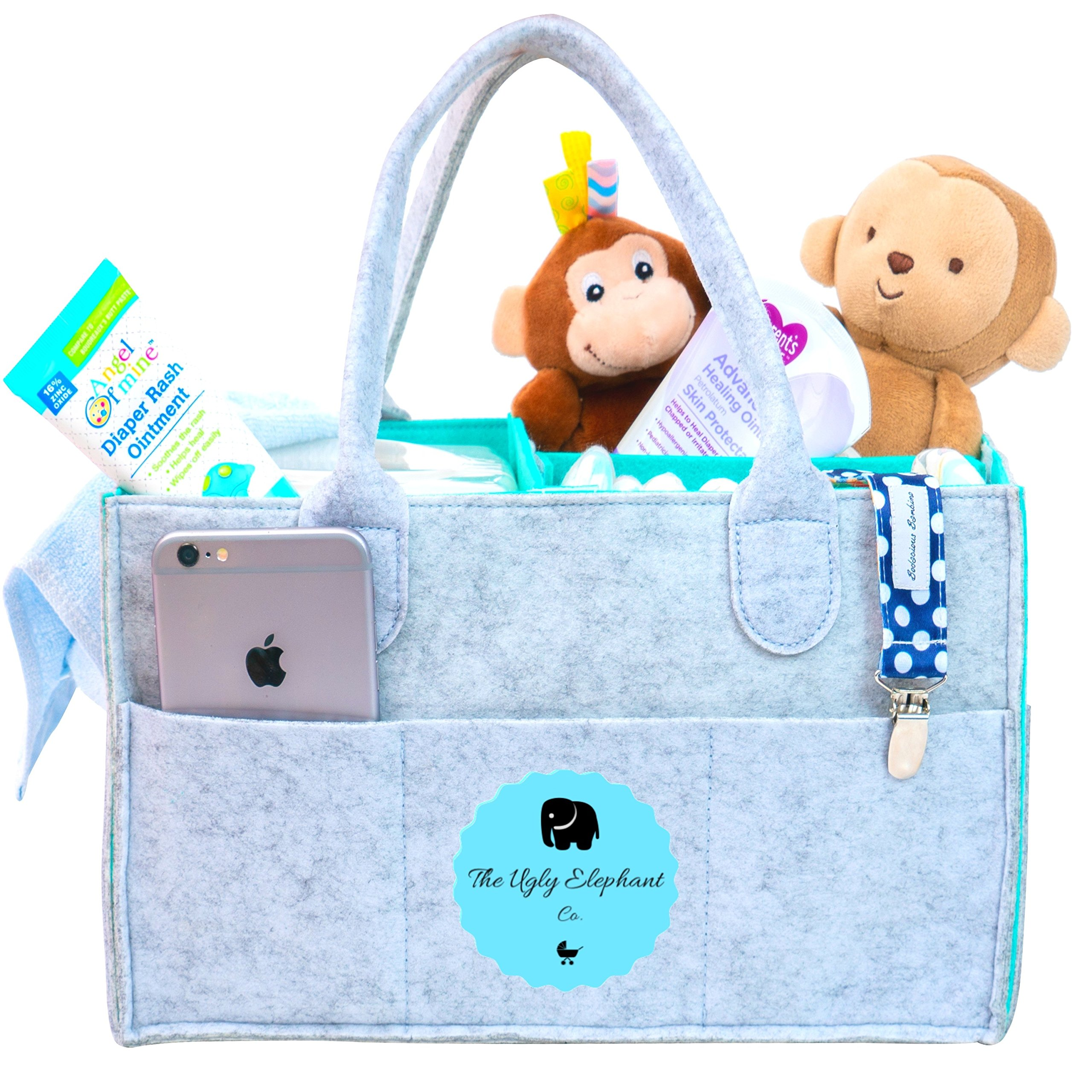 Baby Diaper Caddy Organizer | Donating to Elephant Foundation | Bonus FREE Sun Glasses Case| Baby Shower Gift Basket | Newborn Registry Must Have | Boy Girl Changing Table | Large Car Travel Organizer