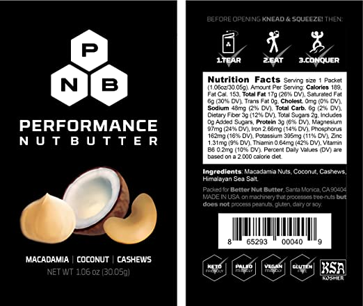 Performance Nut Butter Macadamia, Coconut & Cashew Keto Nut Butter - Ketogenic, Paleo & Vegan