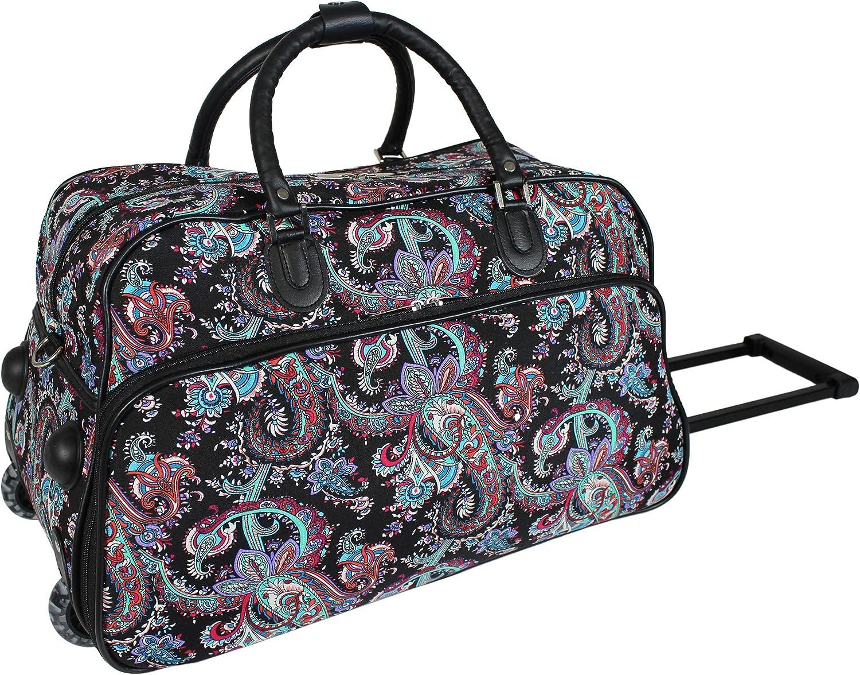 World Traveler 21 Inch Carry On Rolling Duffel Bag Paisley Travel Duffels