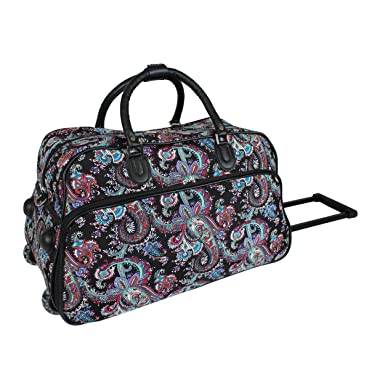 World Traveler Paisley 21-Inch Carry-On Rolling Duffel Bag dcaac932434bc